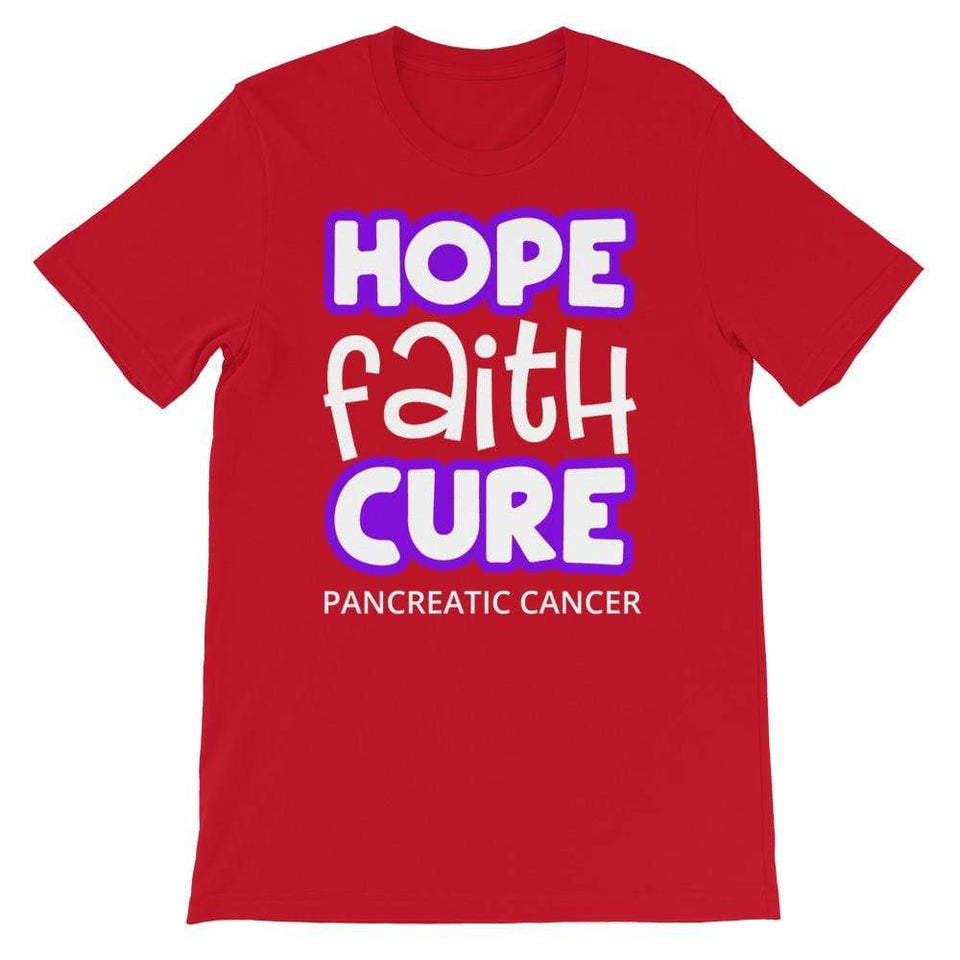 """Hope Faith Cure"" Pancreatic Cancer T-Shirt The Awareness Expo Pancreatic Cancer"