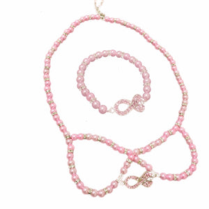 Crystal Pink Ribbon Bead Bracelet & Necklace Set The Awareness Expo
