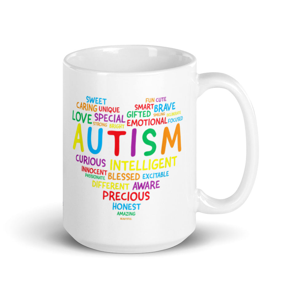 Autism Awareness Heart Glossy Mug