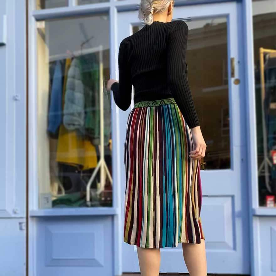 Ivko pleated skirt in autumnal rainbow stripe pure wool - Black Truffle
