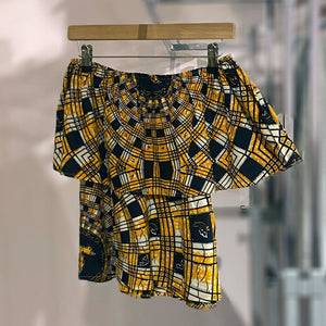 Off the shoulder top in in yellow cotton batik by Floralyst - Black Truffle