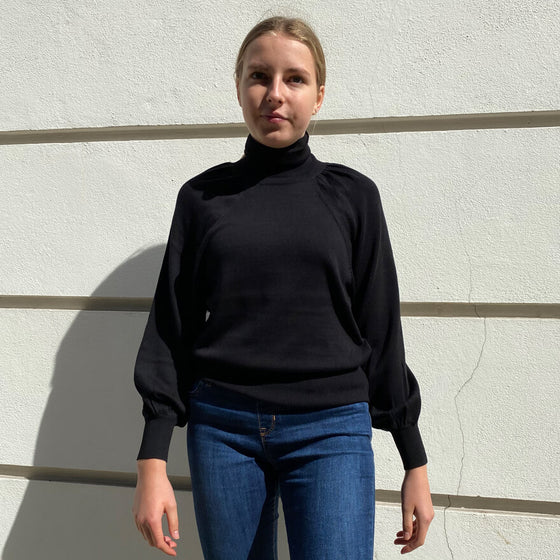 Black puff sleeve polo neck sweater - Black Truffle