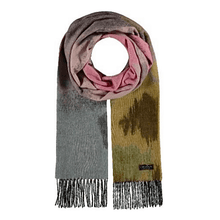 Lime cashmink abstract landscape scarf by Fraas - Black Truffle