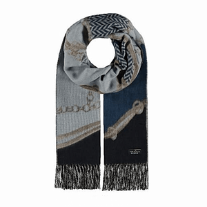 Blue scarf in patchwork chain design cashmink by Fraas 625275 - Black Truffle