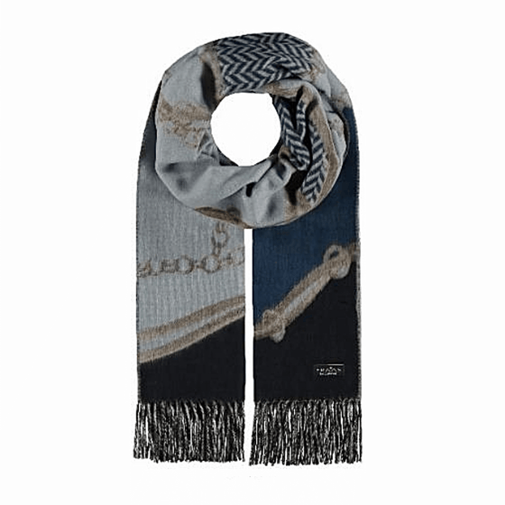 Blue scarf in patchwork chain design cashmink by Fraas - Black Truffle
