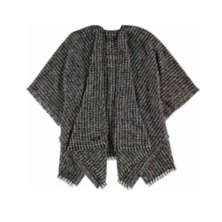 Charcoal check boucle poncho by Fraas 625278 - Black Truffle