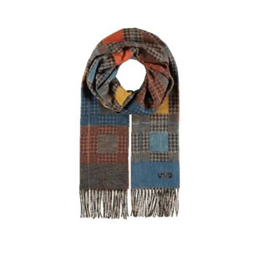 Blue colour block check scarf by Fraas 625283 - Black Truffle