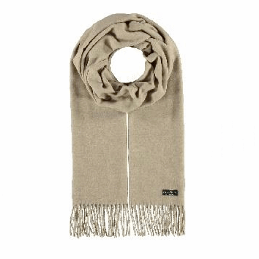 Cream cashmink scarf by Fraas 625199 - Black Truffle