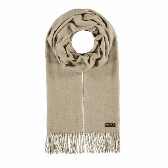 Cream cashmink scarf by Fraas - Black Truffle