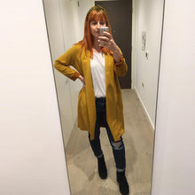Womens jacket in faux mustard yellow suede - Black Truffle