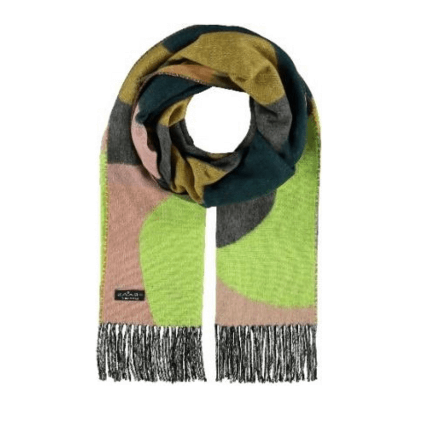 Green abstract print scarf by Fraas 625458 - Black Truffle