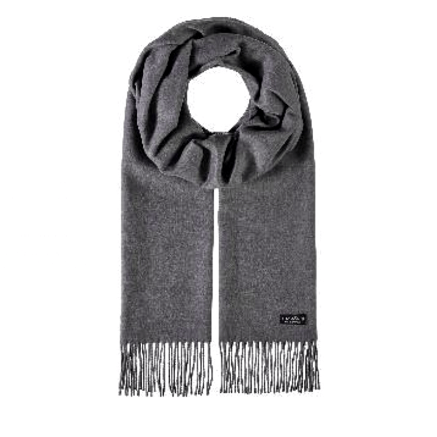 Grey cashmink scarf by Fraas 625199 - Black Truffle