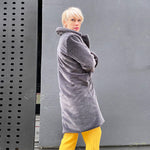 Grey faux fur coat by Moda Made In Italy - Black Truffle