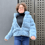 Faux fur bomber jacket in jeans blue by JS Millenium - Black Truffle