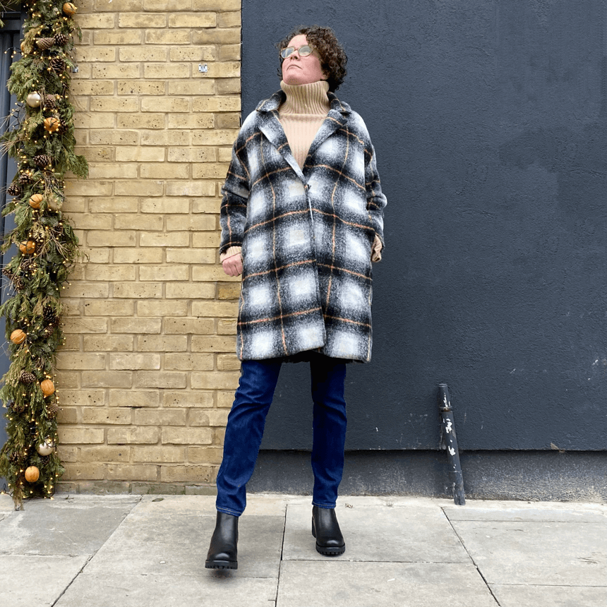 Black checked wool coat by JS Millenium - Black Truffle