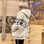 Cream faux fur bomber jacket with embroidery by Aazka - Black Truffle