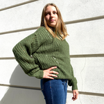 Green round neck sweater with crochet detail by JS Millenium - Black Truffle