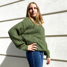 Green round neck sweater with crochet detail - Black Truffle