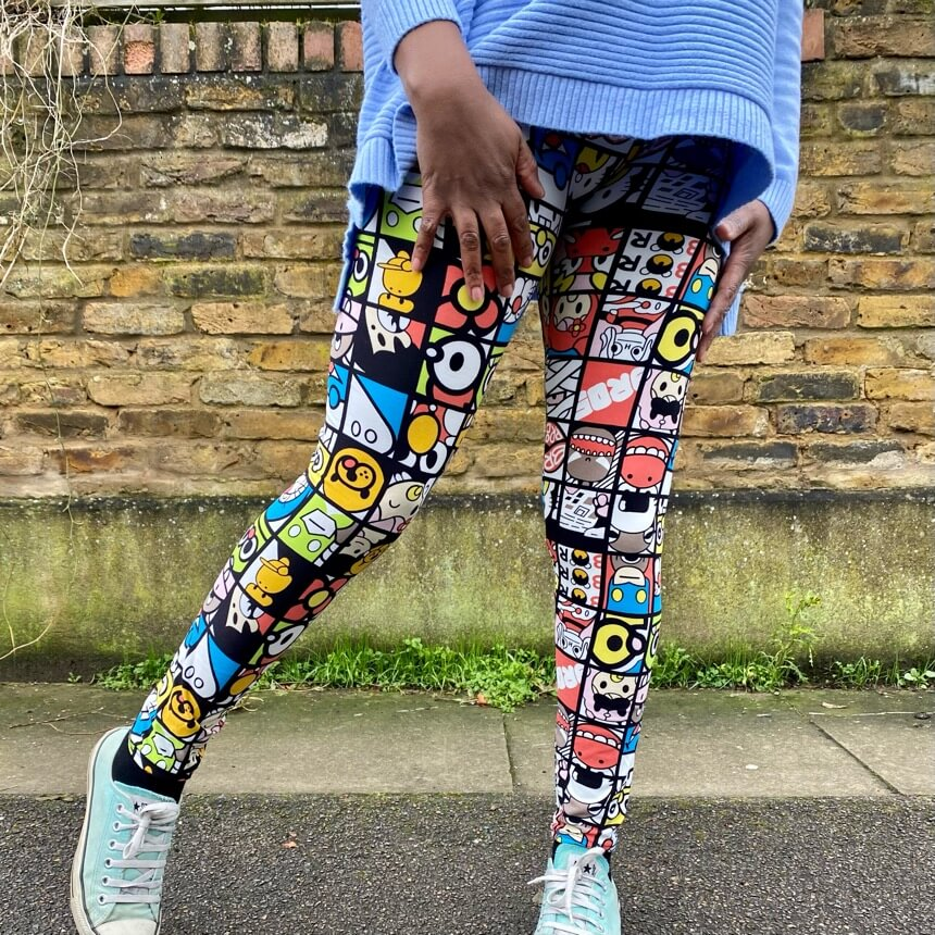 Comic print leggings by Yu & Me - Black Truffle