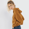 Cropped hooded sweatshirt in brown by Sweewe - Black Truffle