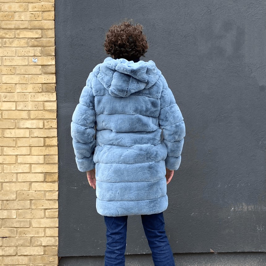 Faux fur hooded coat in jeans blue by JS Millenium - Black Truffle