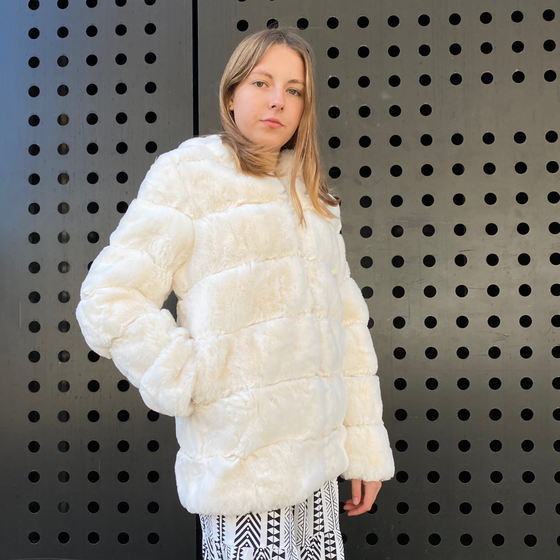 White faux fur hooded jacket - Black Truffle