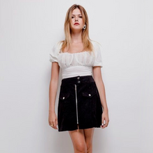 Black corduroy mini skirt by Copperose - Black Truffle