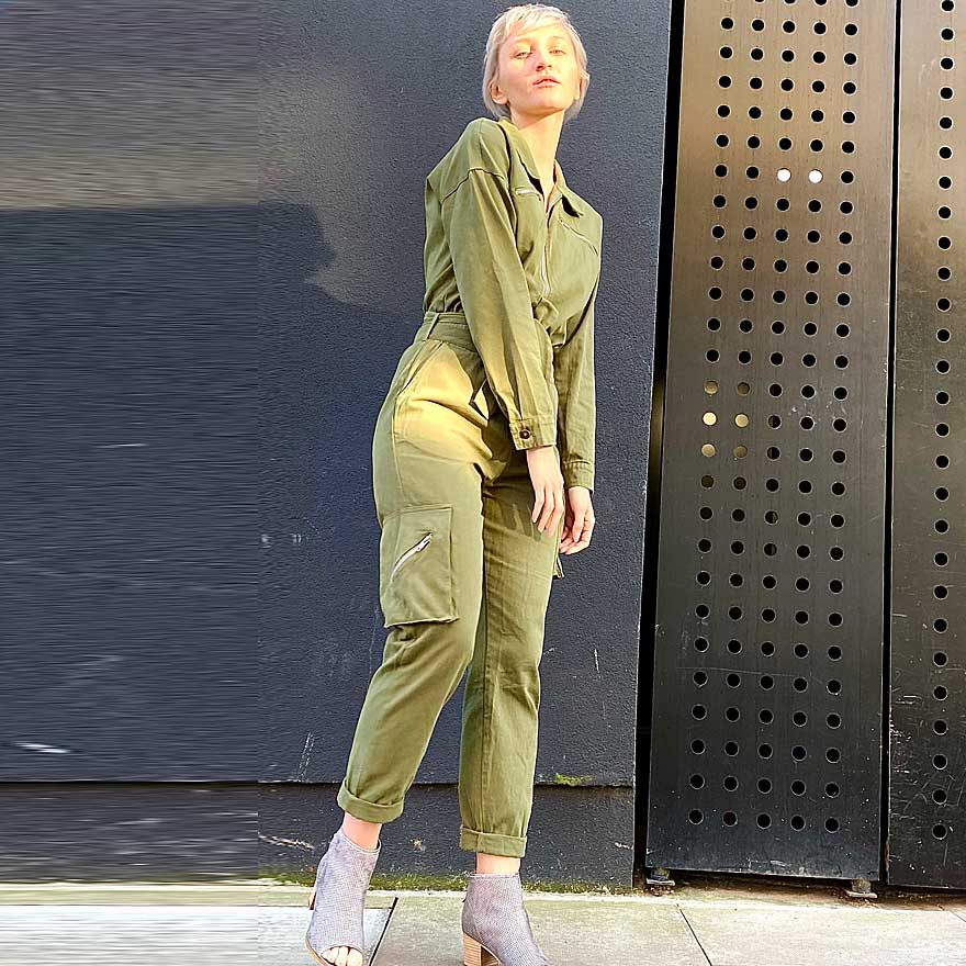 Olive green short sleeve womens flyingsuit suit by Ciminy - Black Truffle