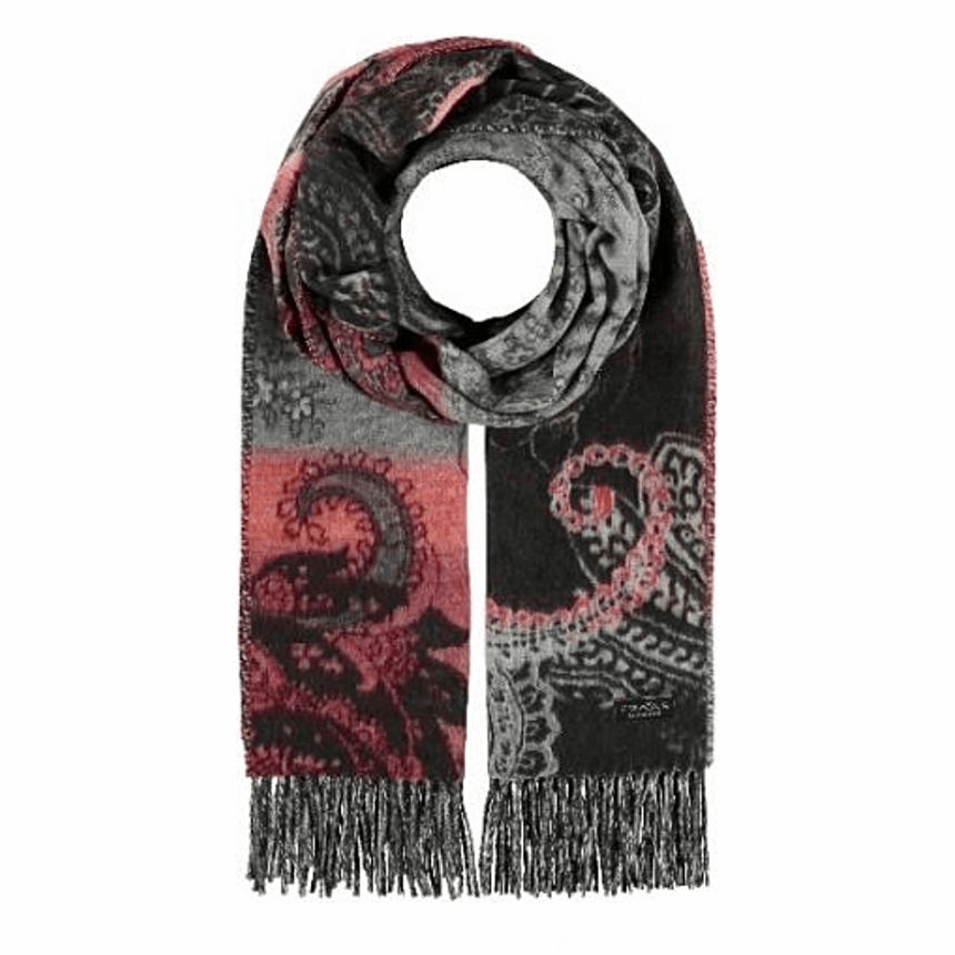 Charcoal paisley floral scarf by Fraas 625278 - Black Truffle