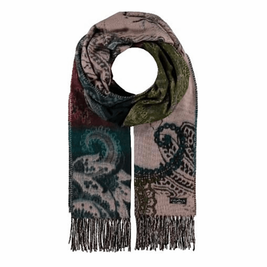 Rose paisley floral scarf by Fraas 625278 - Black Truffle