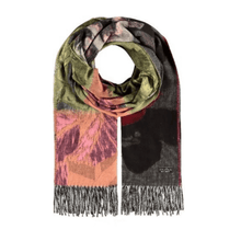 Pink wild rose oversized scarf by Fraas - Black Truffle
