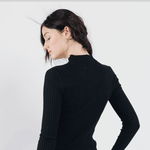 Sweewe black fitted sweater with crochet detail - Black Truffle