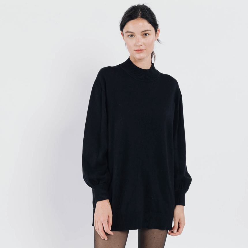 Sweewe black long length cowl neck sweater - Black Truffle