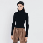 Sweewe black skinny rib poloneck sweater - Black Truffle