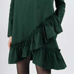 Sweewe green dress with frills - Black Truffle
