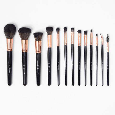 BH cosmetics Signature Rose Gold 13 Piece Brush Set - Glamorous Beauty