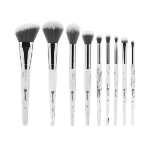 Bh Cosmetics White Marble - 9 Piece Brush Set with Angled Brush Holder - Glamorous Beauty
