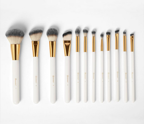 BH Cosmetics White Studded Elegance 12-Piece Brush Set - Glamorous Beauty