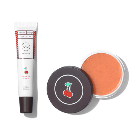 Frank Body Cherry Lip Scrub and Lip Balm Duo - Glamorous Beauty