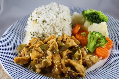Sweet and Sour Chicken with Parsley Rice / Arroz al Perejil con Pollo Agridulce