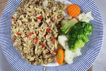 Orzo with Beef and Vegetables / Orzo con Carne de Res y Vegetales