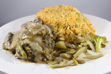 Arroz con Guisantes y Tenderloin en Salsa de Setas / Rice with Peas and Tenderloin on Mushroom Sauce