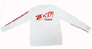 B'n'M Fishing White Dry Fit Long Sleeve
