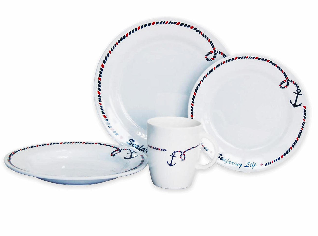 16 Piece Non-Skid Melamine Galleyware - Anchor Collection