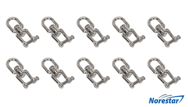 Ten Stainless Steel Eye & Jaw Swivels