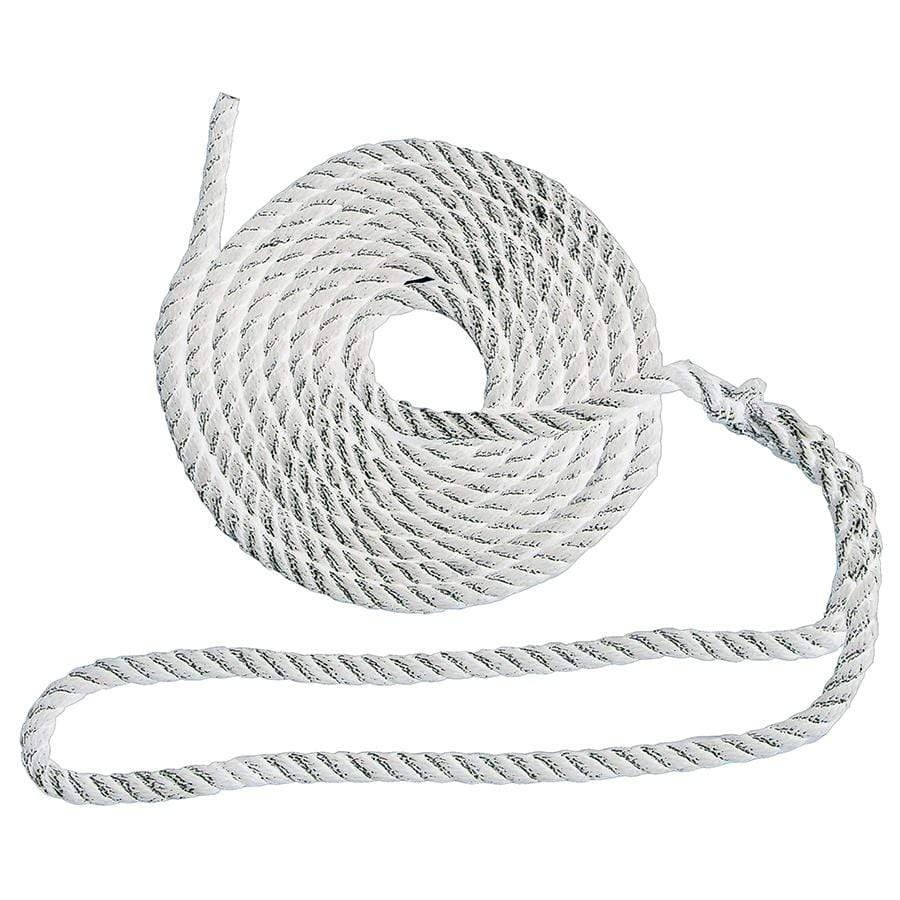"3-Strand Twisted Nylon Dock Line, 20' × 1/2"" (White)"