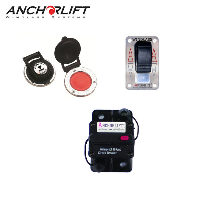 Anchorlift Windlass Combo Pack with Footswitch, Rocker Switch, and Breaker