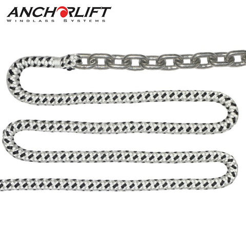 "Double-Braided Nylon Windlass Rope & Galvanized Chain (Prespliced 1/4"" HT G4 Chain)"