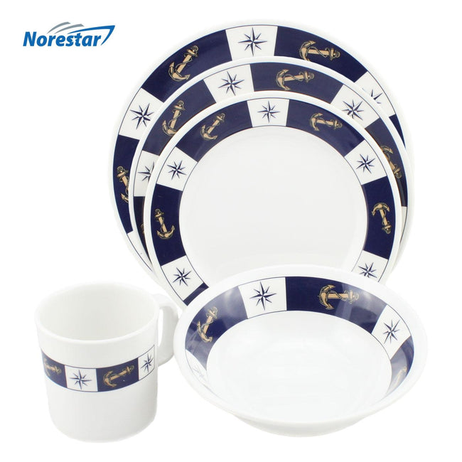 20 Piece Anchor Themed Nautical Dishware Set