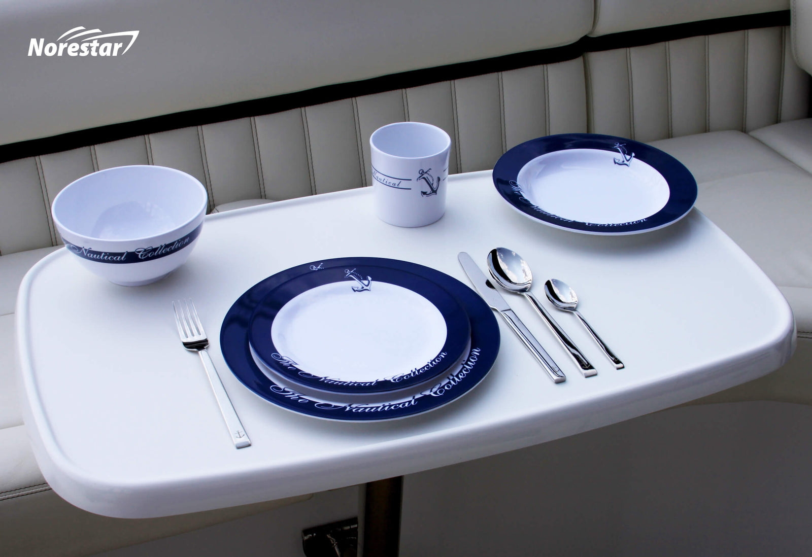 20 Piece Melamine Galleyware Set  Nautical Collection  Serving (shown with cutlery)